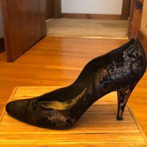 Stuart Weitzman Black suede and gold heels